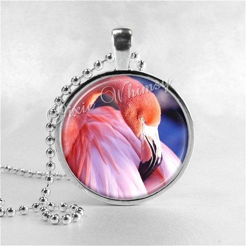 Flamingo Necklace Art Pendant Jewelry with Ball Chain, Pink Flamingos, Bird Jewe