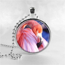 Flamingo Necklace Art Pendant Jewelry with Ball Chain, Pink Flamingos, B... - $9.95