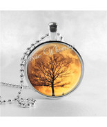 Harvest Moon Necklace Art Pendant Jewelry with Ball Chain, Tree Necklace - $9.95