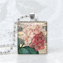 Pink Hydrangea Flower Scrabble Tile Art Pendant Charm - $9.95