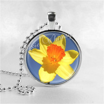 Daffodil Necklace Art Pendant Jewelry with Ball Chain, Flower Necklace, ... - $9.95