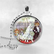 CAT WEDDING Necklace Art Pendant Jewelry with Ball Chain, Bride and Groo... - $9.95