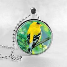 BIRD Necklace, Goldfinch, Bird Pendant, Bird Jewelry, Bird On Branch, Bi... - $9.95