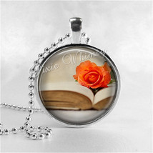 BOOK and ROSE Necklace, Book Art Pendant, Book Jewelry, Book Charm, Read... - $9.95