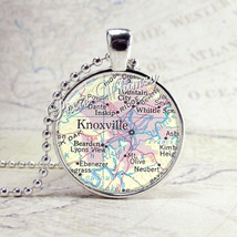 Knoxville Tennessee Map Necklace Art Pendant Jewelry with Ball Chain - $9.95