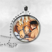 EQUESTRIAN HORSE and WOMAN Necklace Glass Bezel Pendant with Free 24 Inc... - $9.95