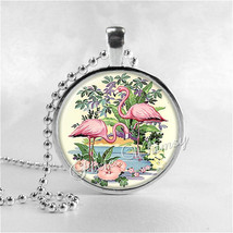 Flamingo Necklace Art Pendant Jewelry with Ball Chain, Tropical Bird, Pi... - $9.95
