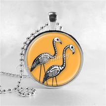 HALLOWEEN SKELETON FLAMINGO Necklace, Flamingo Necklace, Flamingo Jewelr... - $9.95