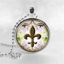 Fleur De Lis Necklace Art Pendant Jewelry with Ball Chain, French Jewelr... - $9.95