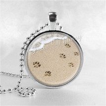 PAWPRINTS In The SAND Necklace Art Pendant Jewelry with Ball Chain, Foot... - $9.95
