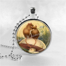 MOUSE Necklace, Mice In Love, Glass Photo Art Necklace, Mouse Jewelry, M... - $9.95
