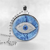 LUCKY EVIL EYE Necklace, Evil Eye Jewelry, Glass Photo Art Necklace Pend... - $9.95
