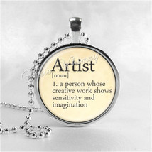 ARTIST Necklace, Artist Pendant, Artist Jewelry, Glass Art Pendant Charm, Dictio - $9.95