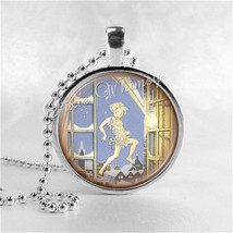 Peter Pan Necklace Round Glass Bezel Pendant With Free 24 Inch Necklace Chain, P - $9.95