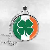 Irish Flag And Shamrock Necklace, St. Patrick's Day Necklace, Glass Photo Art Ne - $9.95