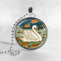 ART DECO Jewelry, Swan Necklace, Swan Jewelry, Bird Jewelry, Swan Pendan... - $9.95