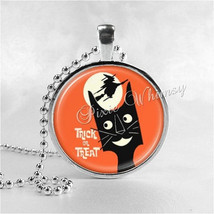 VINTAGE HALLOWEEN Necklace, Trick Or Treat, Black Cat, Witch, Full Moon,... - $9.95