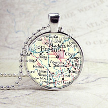 FRESNO CALIFORNIA Vintage Map Necklace, California Necklace, California ... - $9.95