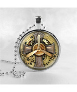 STEAMPUNK CROSS Necklace, Steam Punk Cross Pendant, Propeller, Cross Jew... - $9.95