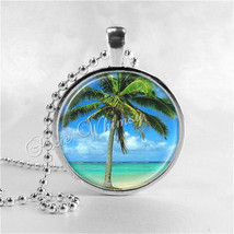 PALM TREE Necklace, Palm Tree Pendant, Tree Jewelry, Palm Tree Charm, Glass Phot - $9.95