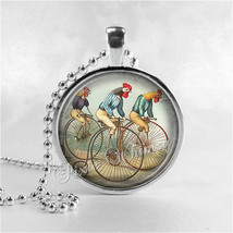 ROOSTER Necklace, Rooster Pendant, Roosters Riding Bicycles, Chicken Jew... - $9.95