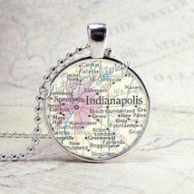 INDIANAPOLIS INDIANA MAP Necklace Art Pendant Jewelry with Ball Chain, V... - €8,59 EUR