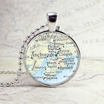 Anchorage Alaska Map Necklace Art Pendant Jewelry with Ball Chain - $9.95
