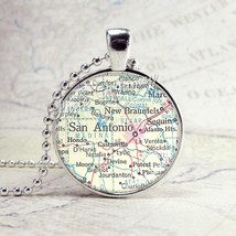 TEXAS SAN ANTONIO Vintage Map Necklace, Texas Necklace, Texas Jewelry, T... - $9.95