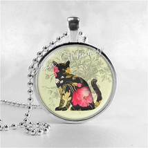 Black Cat Necklace Art Pendant Jewelry with Ball Chain, Cat Pendant, Cat... - $9.95