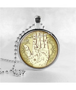 Palmistry Necklace Art Pendant Jewelry with Ball Chain, Palm Reading Nec... - $9.95