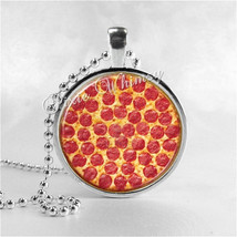 PEPPERONI PIZZA  Round Glass Bezel Pendant with Free 24 Inch Necklace Ch... - $9.95