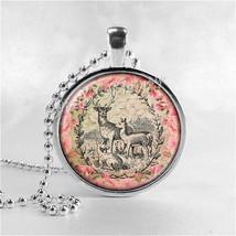 DEER Necklace, Deer Pendant, Deer Jewelry, Glass Art Pendant Charm, Anim... - $9.95