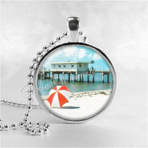 BEACH SCENE Necklace, Beach Pendant, Glass Photo Art Pendant Necklace Charm, Sea - $9.95