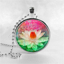 LOTUS FLOWER Pendant, Water Lily Pendant, Lotus Necklace, Flower Jewelry... - $9.95