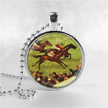 HORSE RACING Necklace, Horse Pendant, Horse Race Jewelry, Horse Charm, G... - $9.95