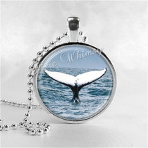WHALE FIN Necklace Art Pendant Jewelry with Ball Chain, Whale Jewelry, W... - $9.95