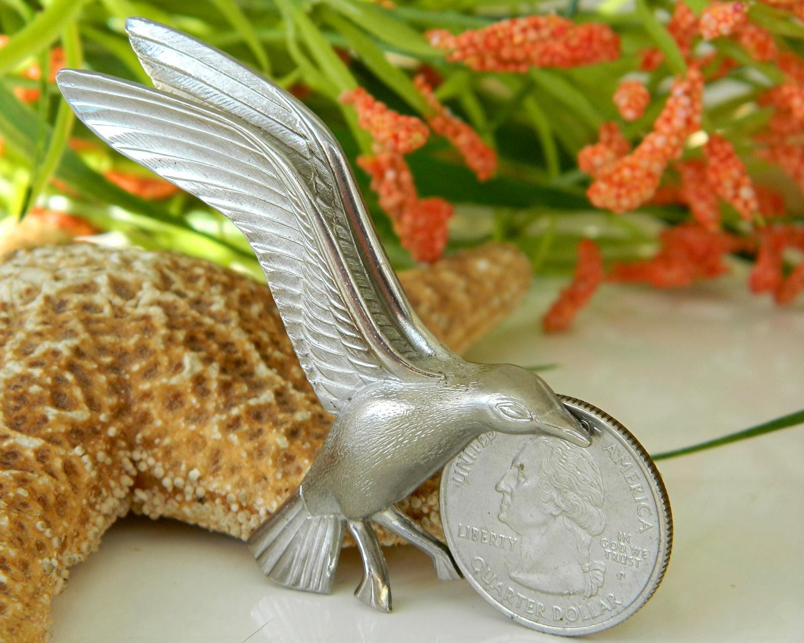 Vintage Seagull In Flight Bird Brooch Pin Giovanni Silver Tone