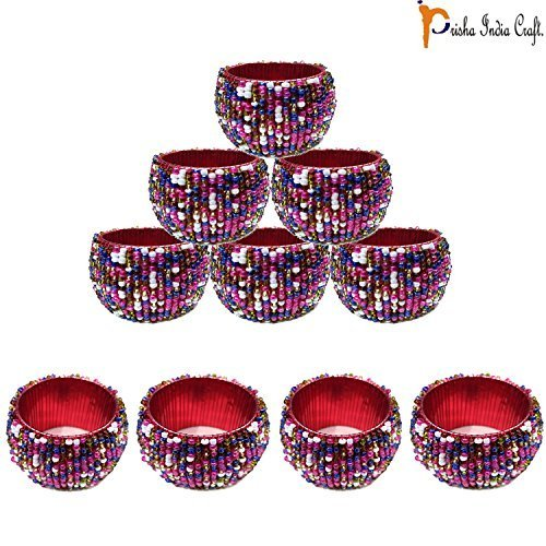 Prisha India Craft - Beaded Napkin Rings Set of 10 colorful - 1.5 Inch in Size-P - $20.79