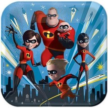 Incredibles 2 Lunch Dinner Plates Birthday Party Supplies 8 Per Package New - $5.63