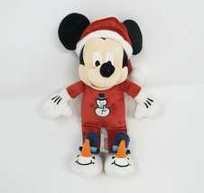 "9"" DISNEY STORE MICKEY MOUSE SNOWMAN PJ CHRISTMAS SANTA STUFFED ANIMAL P... - $24.31"