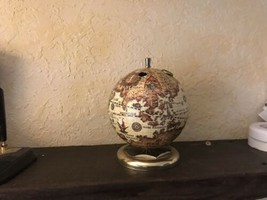 Vintage World Globe Pencil Pen Holder Wood Base About 8 In Tall - £9.28 GBP