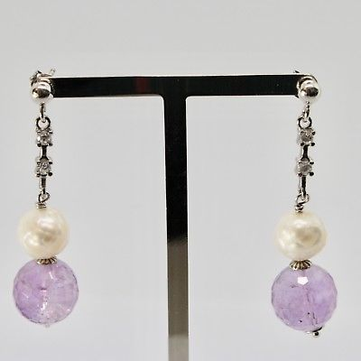 EARRINGS SILVER 925 RHODIUM HANGING ZIRCON CUBIC PEARLS AND AMETHYST