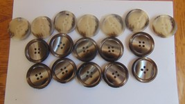 """Vintage 17 Buttons-7 Cream & Brown-10 Shiny Brown & Beige-1 1/8""""--4 Hole... - $7.91"""