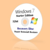 Microsoft Windows 7 Starter 32-BIT DVD INSTALL RECOVERY REPAIR reinstall... - $9.88