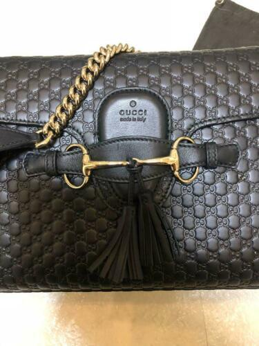 Auth Gucci Emily Shoulder Bag Black Medium Leather Chain Metal G192
