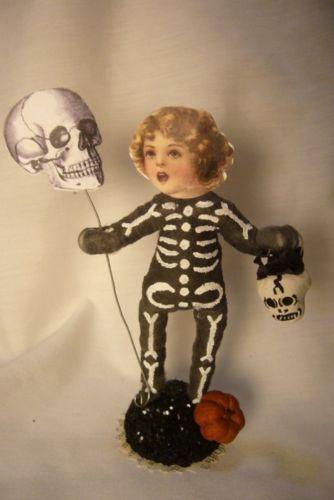 Vintage Inspired Spun Cotton, Skeleton Kid Halloween