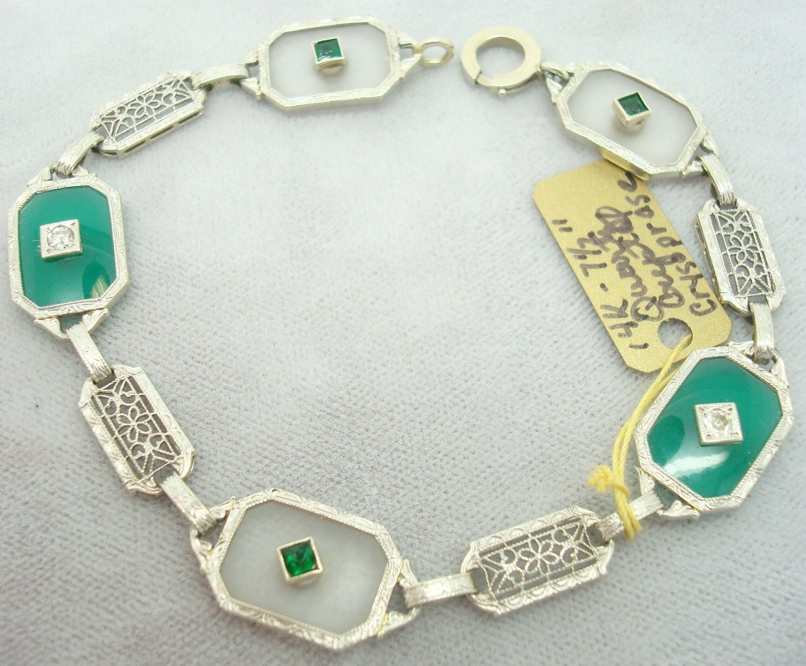 14K Gold Crystal Quartz Filigree Bracelet with Chrysoprase (#J1727)