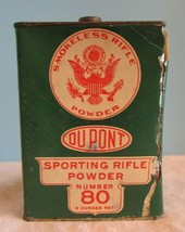 Vintage Dupont Number 80 Smokeless Sporting Rifle Gun Powder Tin 8 ounc... - $42.08