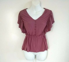 American Rag Cie Women Top Oceanside Wild Ginger/pink Front Button Ruffl... - $17.75