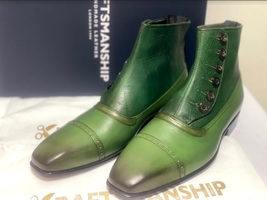 Handmade Men's Green Leather High Ankle Buttons Boot image 1